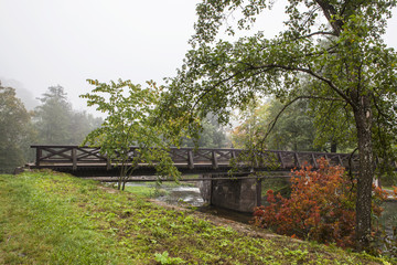 Wooden bridge across the river. Foggy autumn morning. Trees with red and green leaves. Green grass.