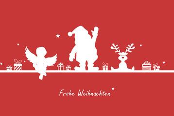 Weihnachtskarte Elche Weihnachtsmann und Elch