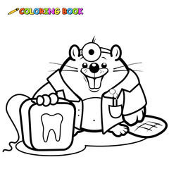 Beaver dentist holding a dental floss coloring book page.