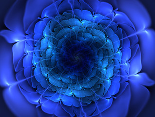 Bright abstract fractal blue flowers.