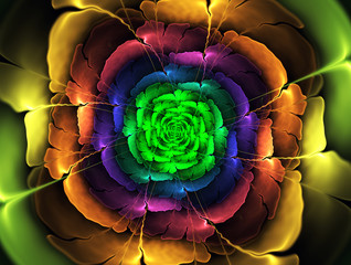Bright abstract fractal colorful flowers.