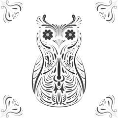 Illustration of owl on white
