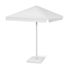 White promotional square advertising parasol umbrella isolated on background. Vector mockup