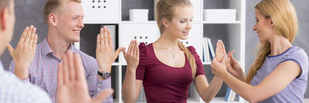Learning the sign language with professional teacher