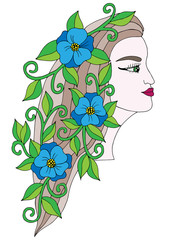Head young beautiful girl with blue  flower in the long hair