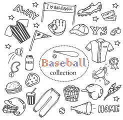 Hand-drawn baseball doodles set. The collection of different line art icons: flags, equipment, clothes, balls, boots, fast food etc. Line art sport illustrations.