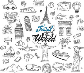 Hand drawn collection of the travel doodles. Different places, buildings and sights: Eiffel Tower, Big Ben, Jesus statue and other.