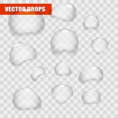 Set of transparent water vector bright drops
