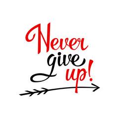 Lettering Never give up on white background. Illustration vector