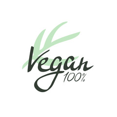 Lettering Vegan. Vector illustrated bio detox logo.