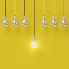 Creative light bulb Idea concept on yellow background