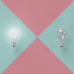 Creative idea concept : two light bulb Idea concept different on light green background, flat lay , minimal concept , top view