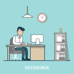 Linear Flat Outsource Business man table office indoor vector