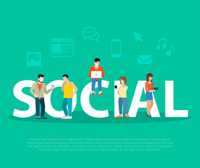 Business Social network promotion Flat people on letters vector