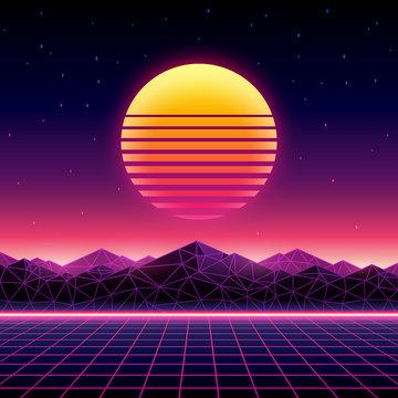 Retro futuristic background 1980s style. Digital landscape