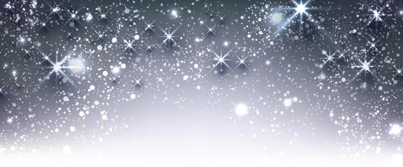 Blue winter festive luminous banner.