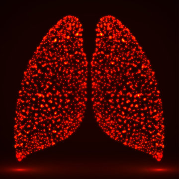 Abstract human lung of glowing particles. Vector