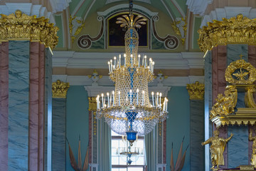 Crystal chandelier in the temple. St. Petersburg