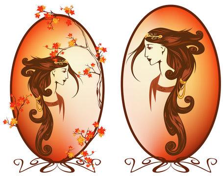 art nouveau style autumn season portrait of a woman with long gorgeous hair
