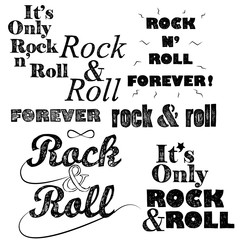 Rock n roll lettering set on white