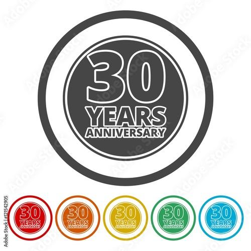 "30 Year Anniversary Symbol: ""Anniversary Icon Set. Anniversary Symbols Isolated On"