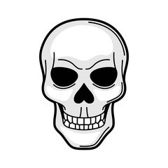 Skull retro tattoo symbol. Cartoon old school illustration