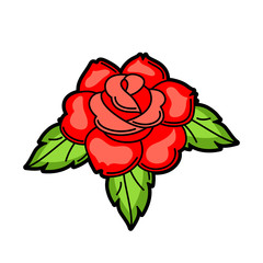 Rose retro tattoo symbol. Cartoon old school illustration
