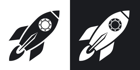 Vector rocket icon. Two-tone version on black and white background
