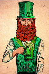 Irish leprechaun with beer drawing on cardboard