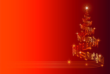 Musical Christmas Tree Vector Illustration