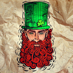 Leprechaun with  red beard, portrait on paper