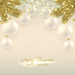 Beautiful Christmas banner with glass balls. Elegant vector illustration with fir-tree branches. Happy New Year background with golden confetti and shining lights.