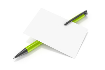 a blank business card and a green ball pen