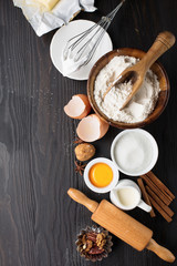 Baking ingredients for homemade pastry, top view