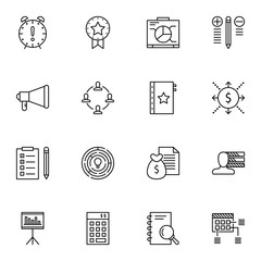 Set Of Project Management Icons On Creativity, Best Solution, Personality And More. Premium Quality EPS10 Vector Illustration For Mobile, App, UI Design.