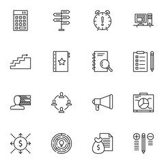 Set Of Project Management Icons On Task List, Creativity, Research And More. Premium Quality EPS10 Vector Illustration For Mobile, App, UI Design.
