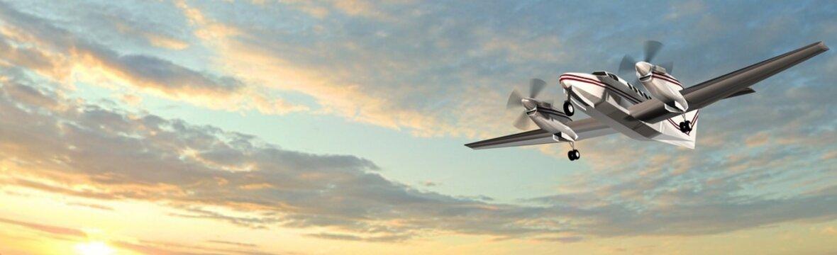 popular propeller light aircraft flight in the panorama sky