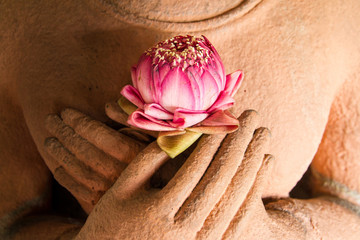 Lotus in the hands of sandstone Buddha.