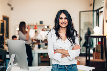 Startup of enterprise, women leader the new company self-confident