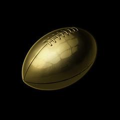 golden american football on black background