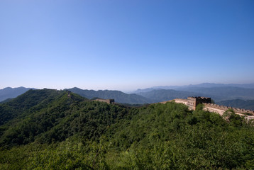 The Great Wall of China on top of the mountains, China