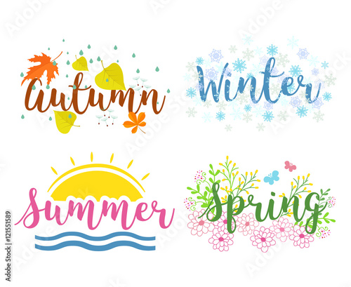 """""""Seasons the lettering isolated on a white background ..."""