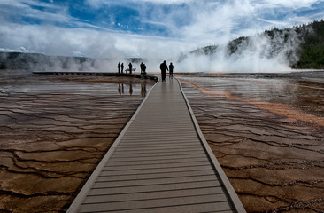 Wooden pathway on the Grand Prismatic Spring, Yellowstone NP, USA
