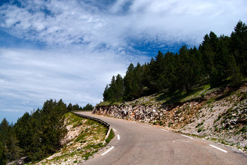 Curvy road on the Mont Ventoux, France