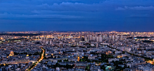Paris panorama of skyline by night