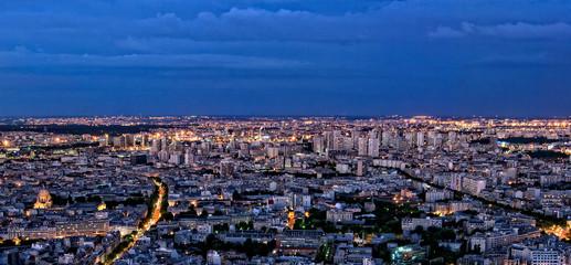 Paris panorama of skyline by night
