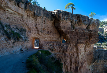 Passage through a rock wall in the Grand canyon, USA