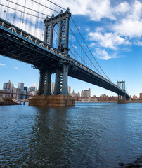 Manhattan Bridge spanning the East river, view from Brooklyn