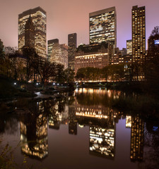 Manhattan skyline from Central Park by night, New York, USA