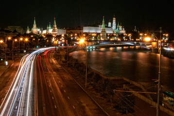 The Moscow Kremlin by night and the river Moskva, Russia